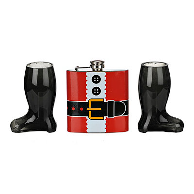 Santa's Suit 3-pc. Flask and Shot Glass Gift Set