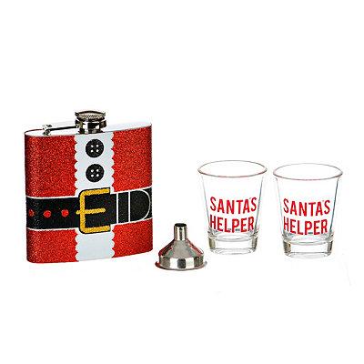 Santa's Helper 4-pc. Flask and Shot Glass Gift Set