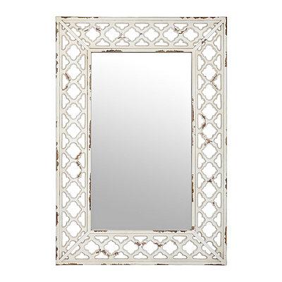 Antique Cream Open Trellis Mirror