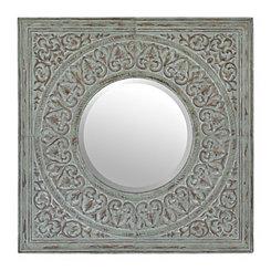 Distressed Mint Embossed Tin Mirror
