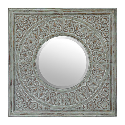 Distressed Mint Embossed Tin Mirror