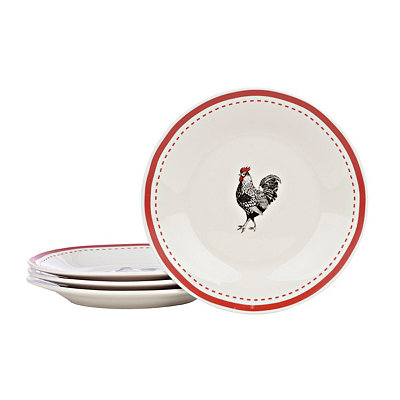Red Rim Rooster Salad Plates, Set of 4