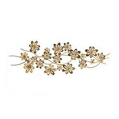 Metallic Gold Flower Scroll Metal Plaque