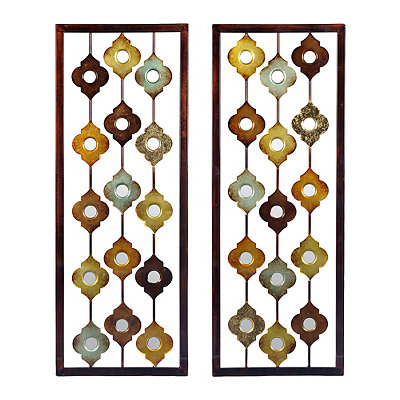 Mirrored Quatrefoil Panel Metal Plaques, Set of 2