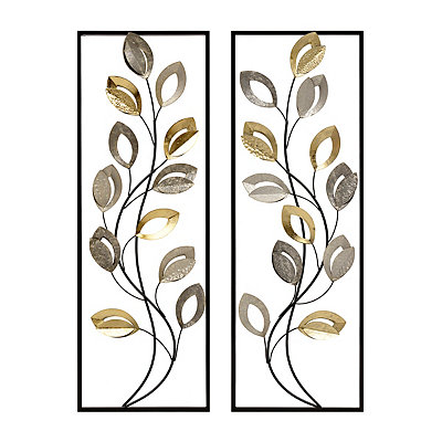 Mixed Metallic Leaves Metal Plaques, Set of 2