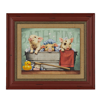 Three Little Pigs in a Tub Framed Art Print