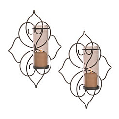 Smoked Glass Lotus Sconces, Set of 2