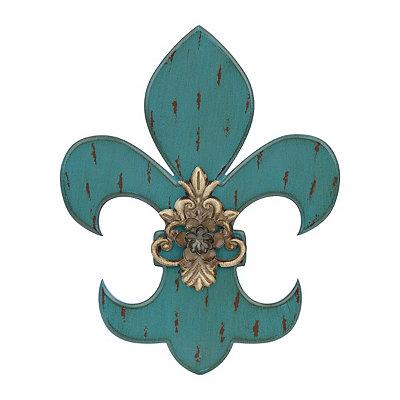 Distressed Turquoise Fleur-de-lis Wooden Plaque