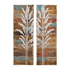 Distressed Dalian Wood Plank Plaques, Set of 2