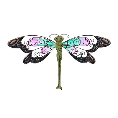 Pink and Blue Glass Dragonfly Metal Plaque