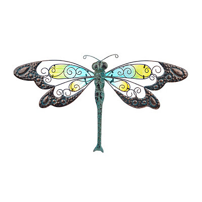 Yellow and Blue Glass Dragonfly Metal Plaque