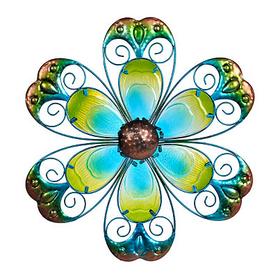 Blue Glass Flower Metal Plaque