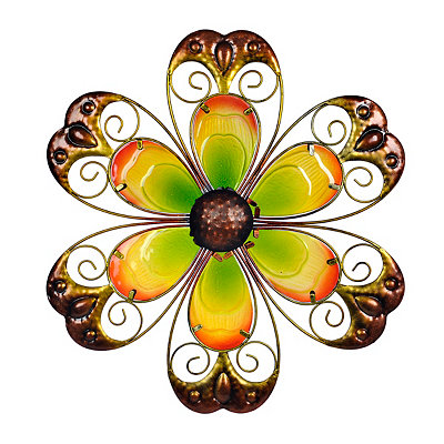 Yellow Glass Flower Metal Plaque