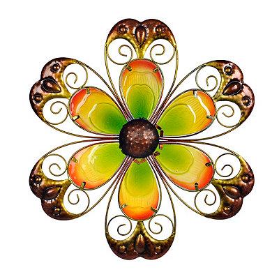 Yellow Glass Flower Metal Plaque