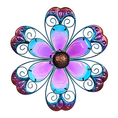 Purple Glass Flower Metal Plaque