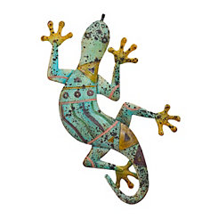 Pale Green Tribal Lizard Metal Plaque