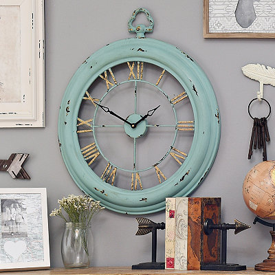 Katie Turquoise Metal Open Face Clock