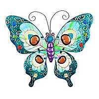Blue Glass Butterfly Metal Plaque