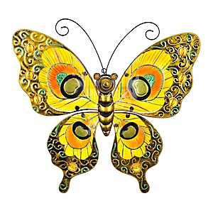 Orange Glass Butterfly Metal Plaque