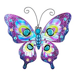 Purple Glass Butterfly Metal Plaque