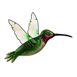 Green Glass Hummingbird Metal Plaque