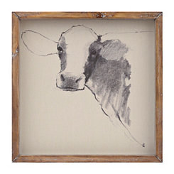 Linen Cow Sketch Framed Art Print