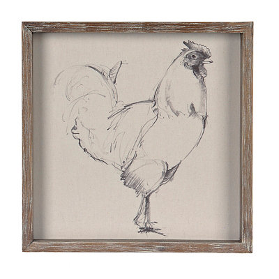 Linen Rooster Sketch Framed Art Print