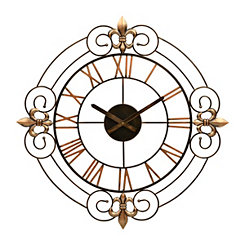 Fleur-de-Lis Scroll Metal Clock
