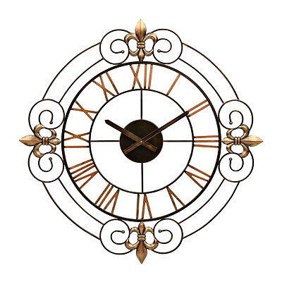 Fleur-de-Lis Scroll Metal Clock