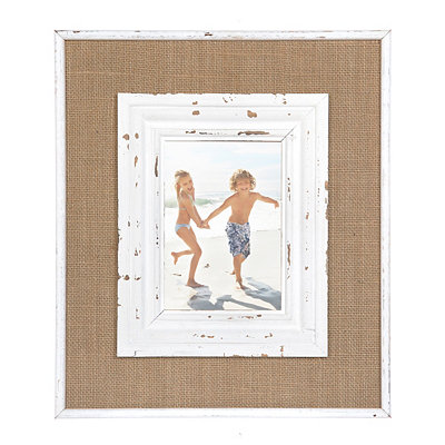 Catherine White Burlap Picture Frame, 5x7