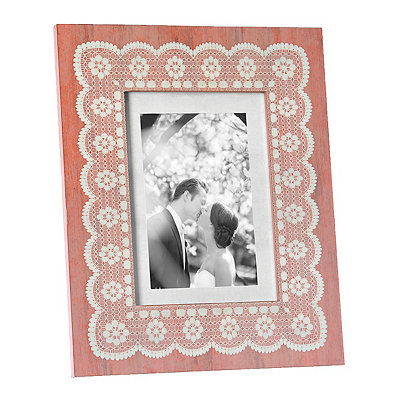 Amy Coral Lace Picture Frame, 5x7