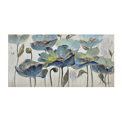 Indigo Floral Canvas Art Print