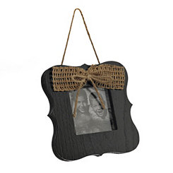 Black Hanging Picture Frame with Bow, 4x4