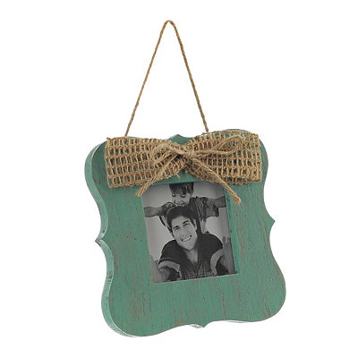 Turquoise Hanging Picture Frame with Bow, 4x4