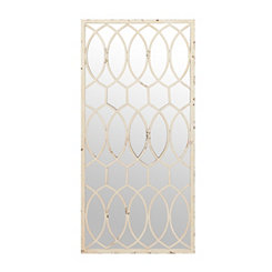 Distressed White Trellis Mirror