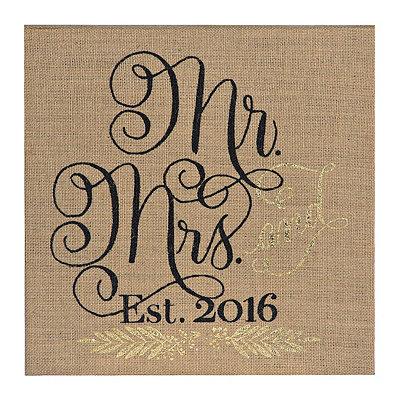 Burlap Burlap Mr. and Mrs. 2016 Wall Plaque