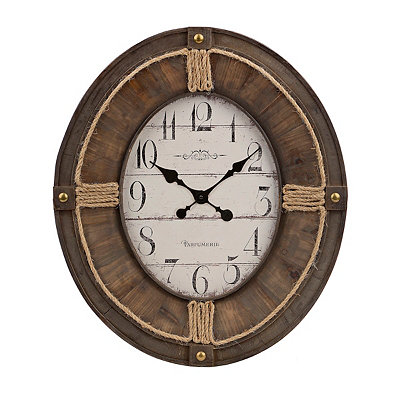 Honey Oval Rope Wooden Clock