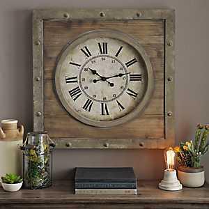 Natural Wood Plank Clock