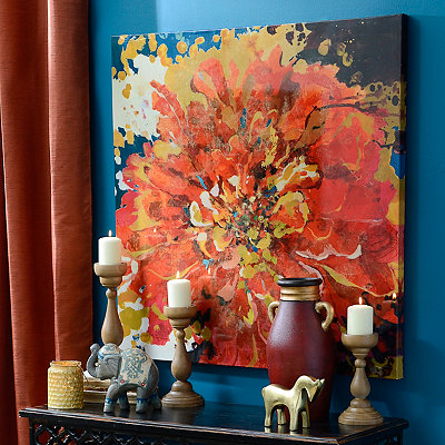 Bohemian Red Floral Canvas Art Print