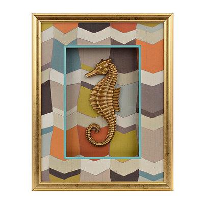 Gold Chevron Seahorse Shadowbox