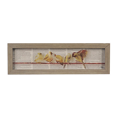 Newsprint Birds Shadowbox