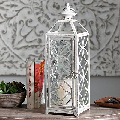 Antique White Trellis Metal Lantern