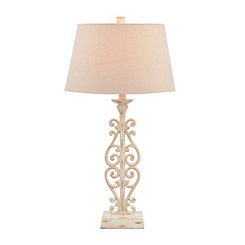 Weathered White Scroll Table Lamp