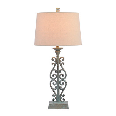 Inlet Bronze Scroll Table Lamp