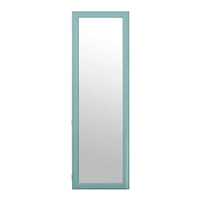 Blue Wood Over-the-Door Armoire Mirror