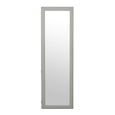 Gray Wood Over-the-Door Armoire Mirror