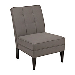 Gray Linen Pleated Accent Chair