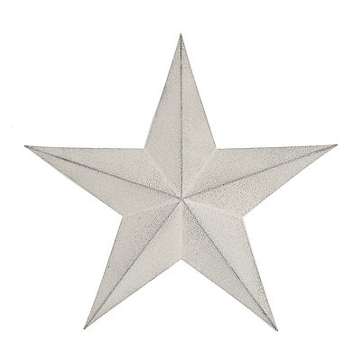Distressed White Rustic Star Metal Plaque, 18 in.