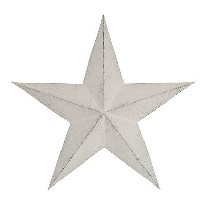 Distressed White Rustic Star Metal Plaque, 24 in.