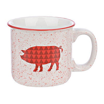 Red Pig Speckled Mug